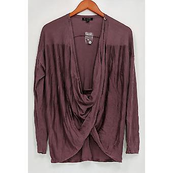 H par Halston Women-apos;s Sweater Long Sleeve Crossover Cardigan Purple A276472