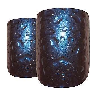 Lösnaglar av bling konst blå lila vatten franska squoval 24 falska medium tips