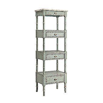 Blue-grey, cream zornes 3-drawer etagere in pale blue-gray stein world