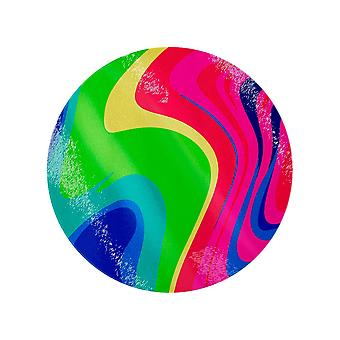 Psychedelic Wave Circular Glass Chopping Board