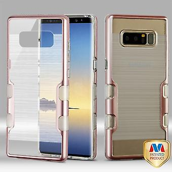 MYBAT Metallic Rose Gold/Transparent Clear TUFF Brushed Panoview Hybrid Protector Cover  for Galaxy Note 8