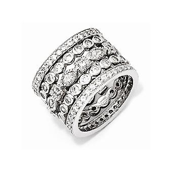 Gold Flashed 925 Sterling Silver Eternity bande Rhodium plaqué CZ Cubic Zirconia Simulated Diamond Eternity Five Ring Set