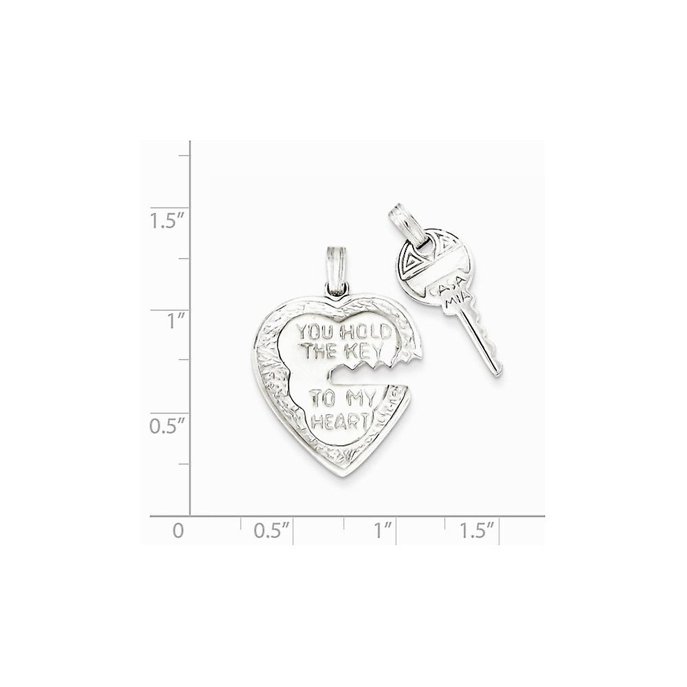 925 Sterling Silver Textured Two piece Polished back Not engraveable Love Heart and Key Charms Jewelry Gifts for Women