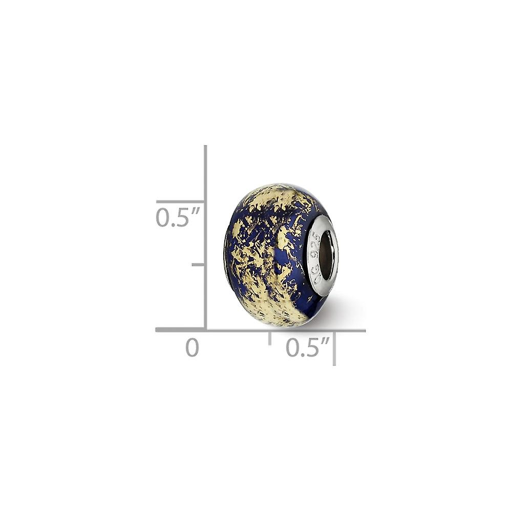 925 Sterling Silver Polished finish Reflections Dark Blue With Gold Foil Ceramic Bead Charm Pendant Necklace Jewelry Gif