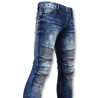 Biker Skinny Jeans Manen - Stretch -  Blauw