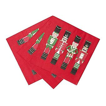 Christmas Party Paper Nutcracker Soldier Napkins Red Green Gold x 16