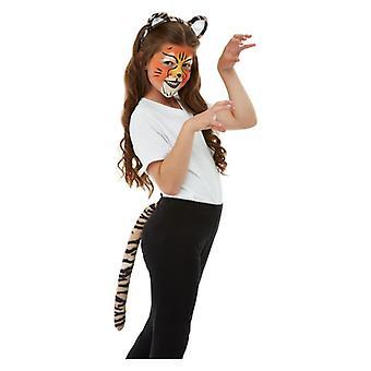 Kinder Tiger Gesicht malt Stirnband & Tail