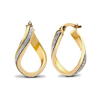 Jewelco London Ladies 9ct Yellow Gold Wavy Twist Moondust Drop Boucles d'oreilles
