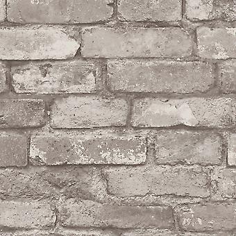 Silver Grey Brick Effect Wallpaper Fine Decor FD31286