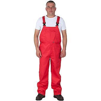 Portwest basic bib and brace work overalls red