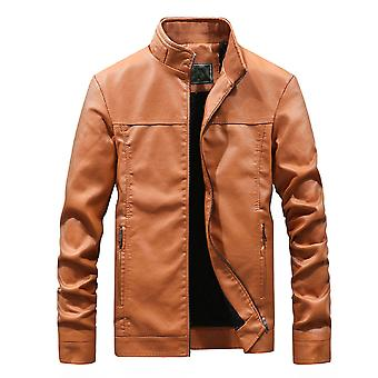 Allthemen Men's Stand Collar Thickened Casual Leather Jacket