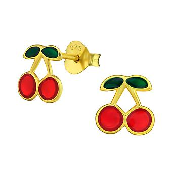 Cherry - 925 Sterling Silver Colourful Ear Studs - W38164X