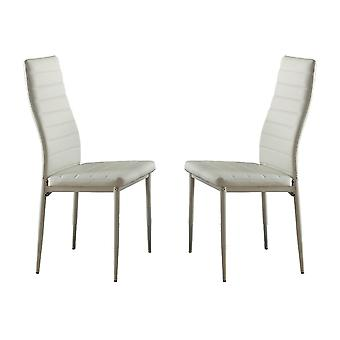 BiCast Vinyl Side Chairs With Curvy Backs, Set of 2, White