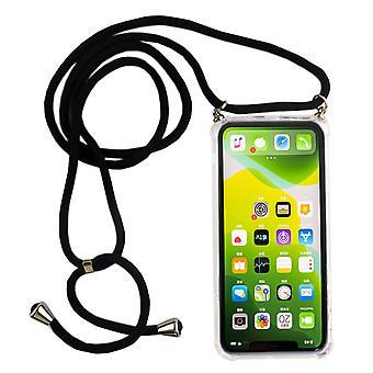 Cadeia de telefone para apple iPhone 11 Pro - smartphone colar caso com banda - cabo com caso para pendurar em preto
