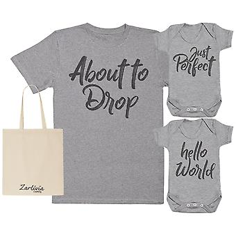 About To Drop Maternity Bag with Hospital T-Shirt & New Baby Bodysuit