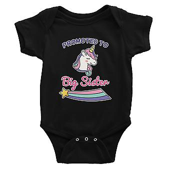 Promoted To Big Sister Baby Announcement Baby Bodysuit Gift Black