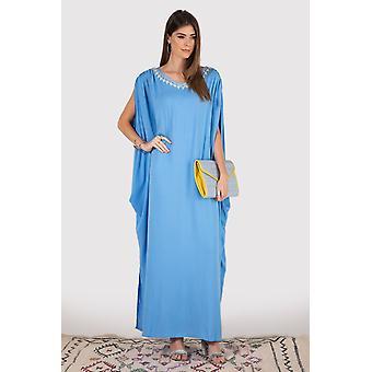 Kaftan eloise bestickt Ausschnitt Split Ärmel Ruche Schulter Schnürung lange Maxi-Kleid in Himmel blau