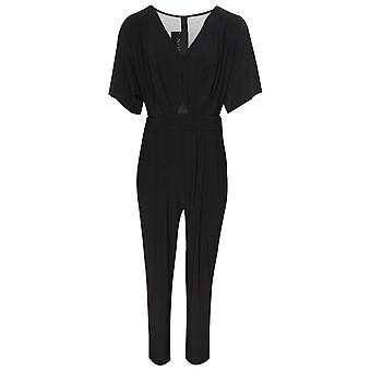 Frank Lyman Black Tailored Jumpsuit With Mesh & Diamante
