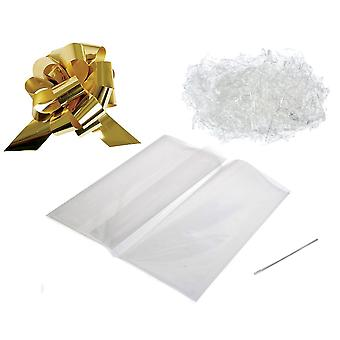 Gift or Hamper Wrapping Kit - Gold Pull Bow, Clear Shred & 100cm x 130cm Bag