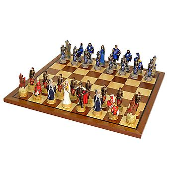 King Arthur Chess Set With Sapele Maple Board