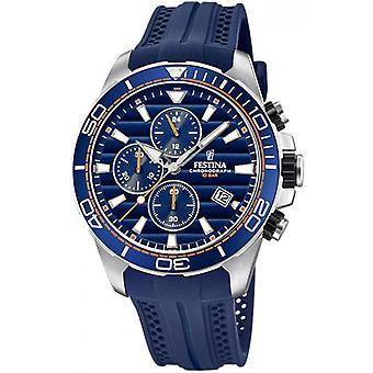 Originale F20370-1 Festina Watch - Uhr stahlblauen Armband blau Harz Mann