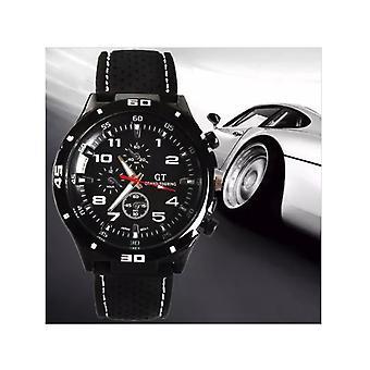 Men Black Stainless Steel Sports GT Watch Black White UK BGGTBW1