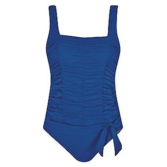 Sunflair 22348-26 Women's Modern Cubes Blue Soft Cup High Back Shaping Swimsuit