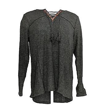 Estilo e Co. Mulheres's Plus Top Lace Up Long Sleeve Thrml Gray
