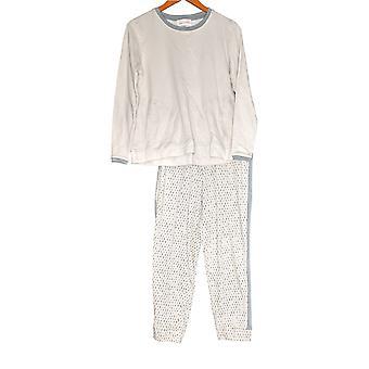 Stan Herman Women's Petite Pajama Set French Terry Top & Pant Beige A301849