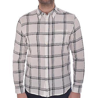 Wrangler Mens Checked Cotton Long Sleeve Button Down Shirt Top - White/Black
