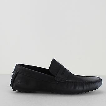 Base London Morgan Oily Mens Leather Driving Loafers Black