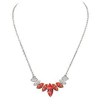 Eterna coleção Mirabeau laranja Jacinto Multi cristal Tom de prata colar