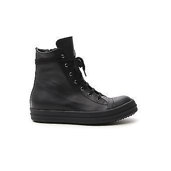 Rick Owens Ru20s7890lpo099 Men's Black Leather Hi Top Sneakers