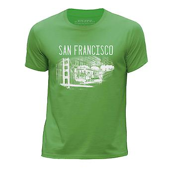 STUFF4 Boy's Round Neck T-Shirt/San Francisco Landmark Sketch/Green