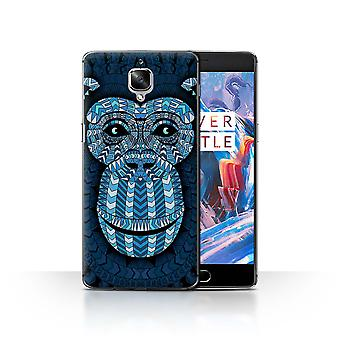 STUFF4 Case/Cover for OnePlus 3/3T/Monkey-Blue/Aztec Animal Design