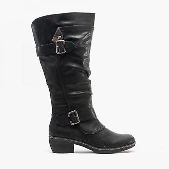 Cipriata Camelia señoras alta pierna Zip Cavalier bota negra