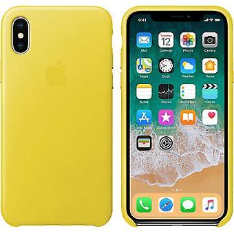 الأصلي معبأة أبل اي فون X الجلود الأصلية الربيع الأصفر