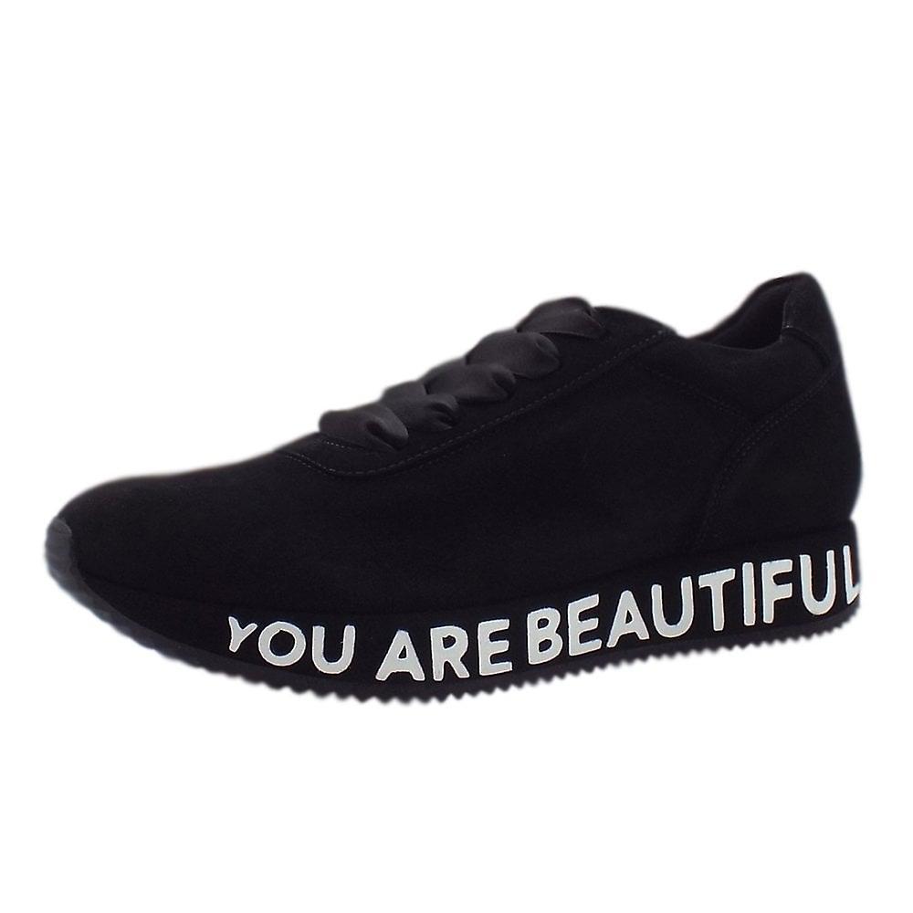 Peter Kaiser Felisa Trendy Lace Up Sneakers w czarnym zamszu v0kP3