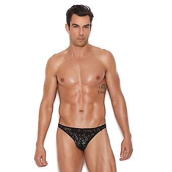 Mens Black Lace Pouch Thong Underwear Brief