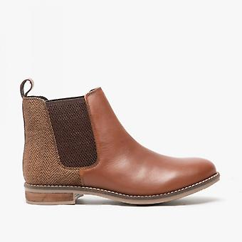 Silver Street London Jenny Ladies Leather Chelsea Boots Cognac/tweed