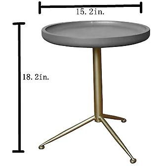 19&x 19& x 22&gray, wood, metal, side/end table with Round Top