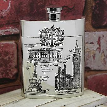 London Scenes Pewter Flask - 6oz