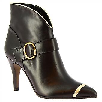 Leonardo Shoes Women's handmade heels pointy ankle boots black gold napa leather