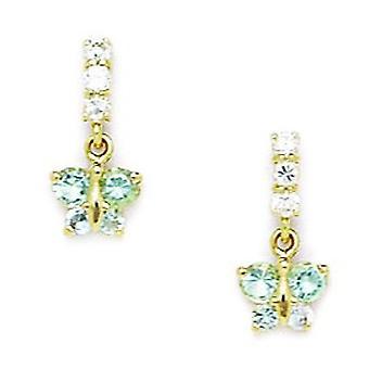 14k Yellow Gold Maart Lt Blue CZ Butterfly Angel Wings Drop Screw terug Oorbellen maatregelen 13x6mm sieraden geschenken voor vrouwen