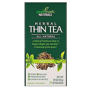 Puremark naturals herbal thin tea, tea bags, green tea, 30 ea