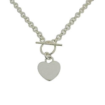 TOC en argent Sterling 21.8Gr coeur charme t-bar collier 17