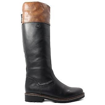 Remonte Hazel R6581-02 Preto / Marrom Couro Mulheres Long Leg Boots