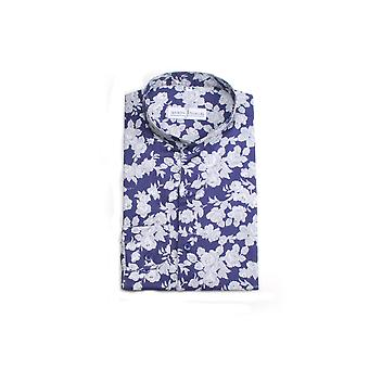 Jenson Samuel Navy & White Collarless Regular Fit Shirt
