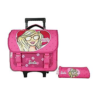 Bagtrotter BARNI98XOXO Barbie Cart School Cart with Pen Holder Size 38 x 14 x 33 cm - Pink Color