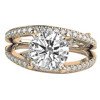 3.2 CTW 9.00MM Forever One Moissanite Engagement Ring with Diamonds 14K Rose Gold Multi Band